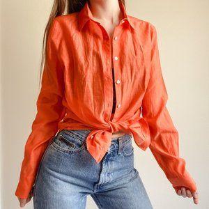 J. Crew Perfect Shirt Silk Blend Button Down 2Tall